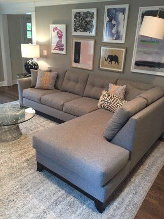 Sofa góc nghĩ trái màu xám