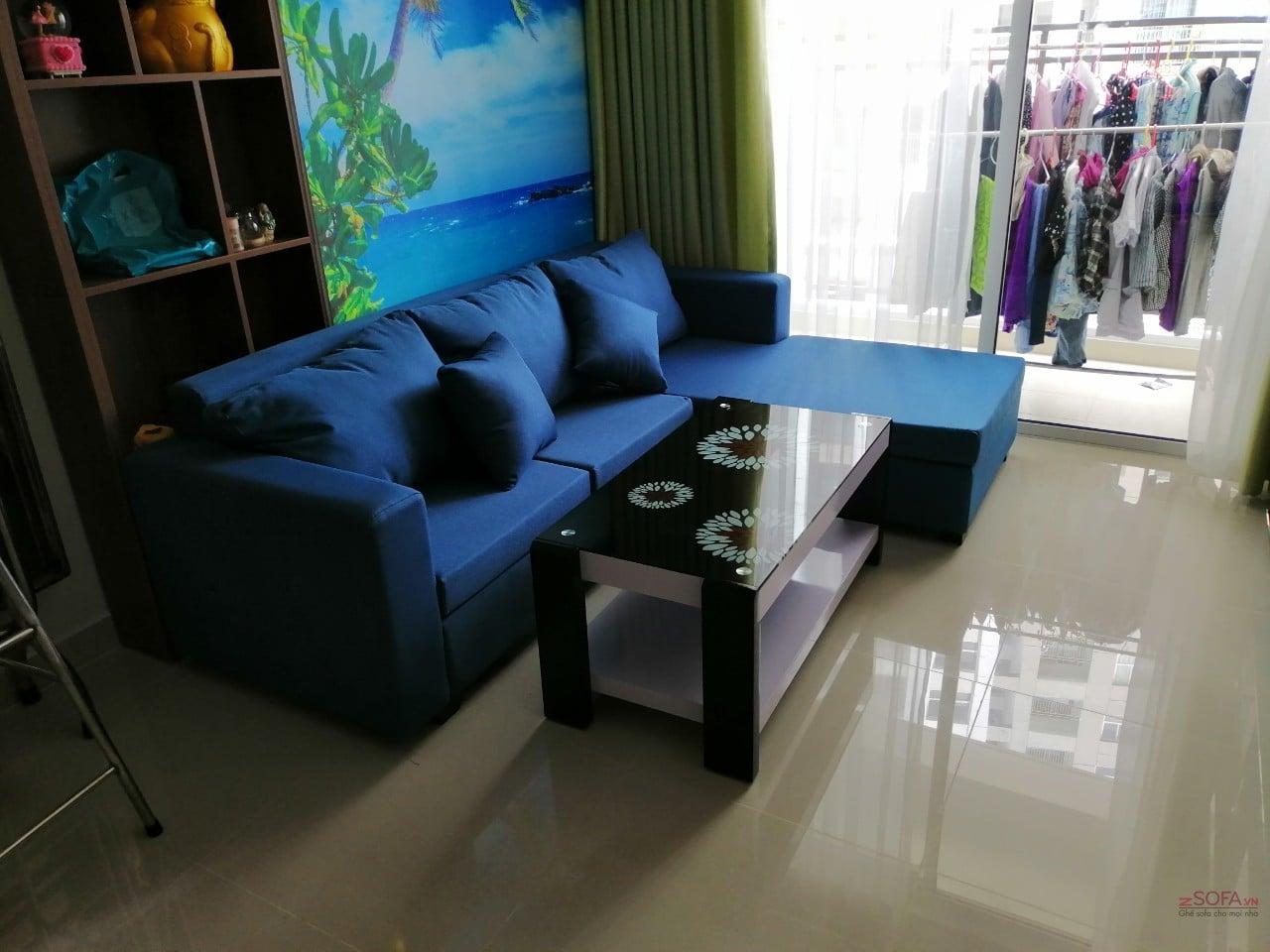 Sofa vải góc L trái màu xanh KMZ005