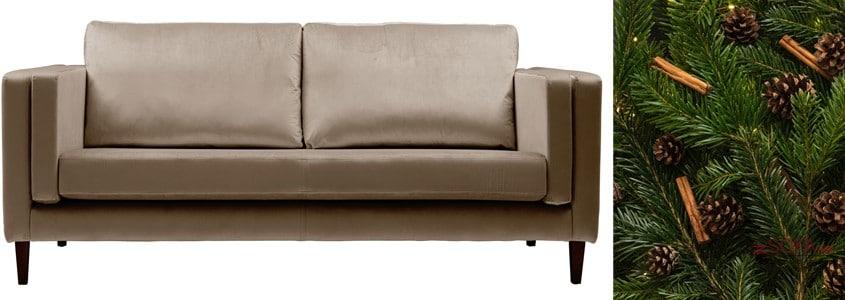 Tomos-3-seater-brown-velvet-sofa-and-green-foliage
